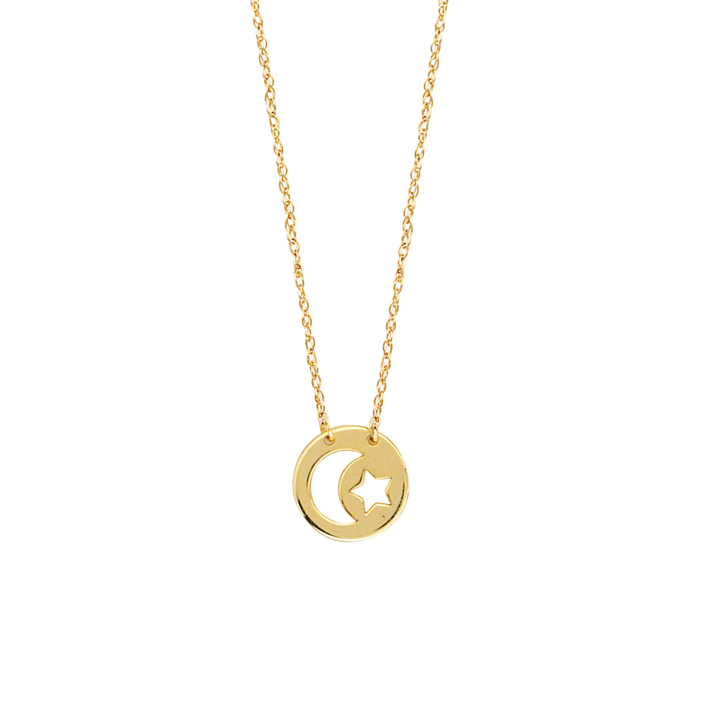 14k Yellow Gold Moon and Star Necklace on Rope Chain Adjustable Length - So You