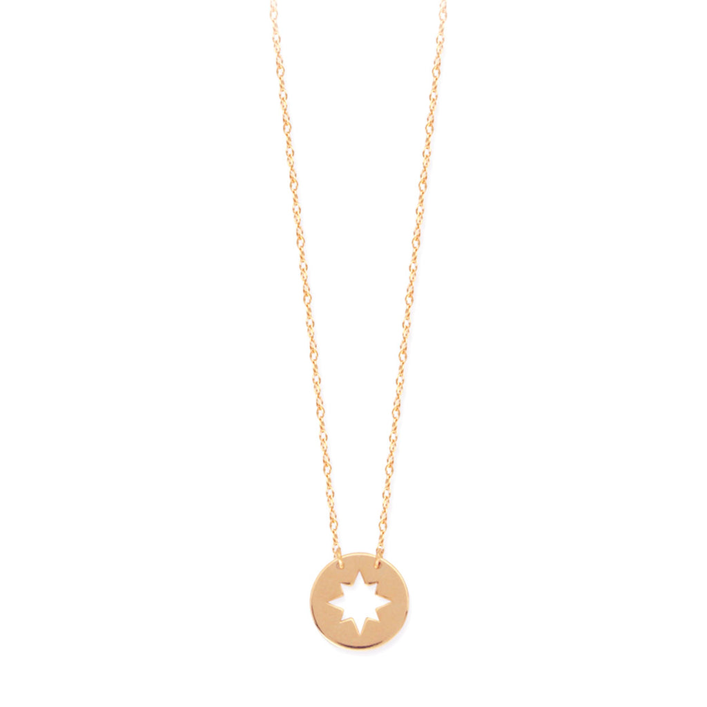 14k Yellow Gold Cut Out Star Burst Necklace on Rope Chain Adjustable Length - So You