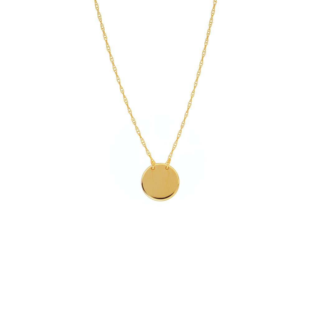14k Yellow Gold Plain Disk Necklace on Rope Chain Adjustable Length - So You