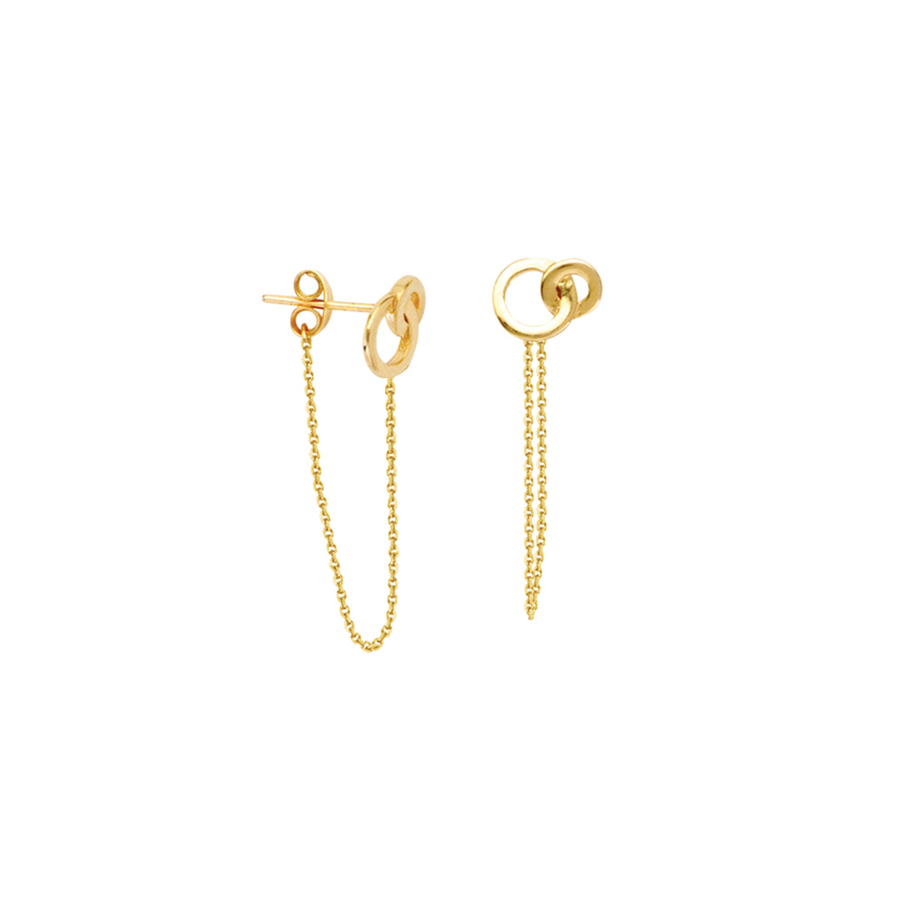 Double Ring Earrings Front Back Chain 14k Yellow Gold