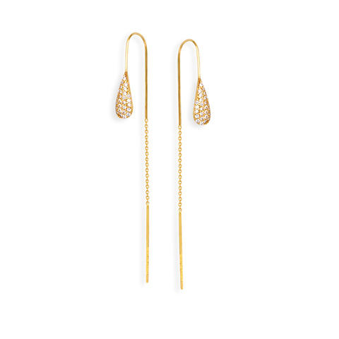 Threader Earrings 14K Yellow Gold Teardrop with Cubic Zirconia Bead Bar Chain