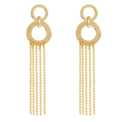 Waterfall Chain Earrings Double Circles 14k Yellow Gold