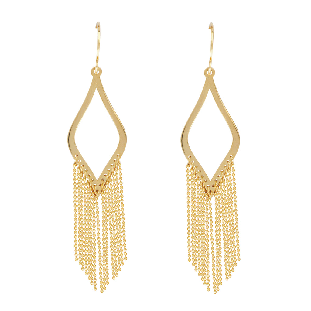Waterfall Chain Earrings Curved Marquise Shape 14k Yellow Gold