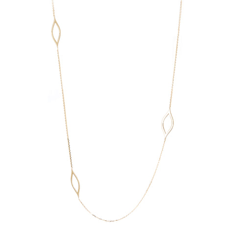 14k Yellow Gold 36-inch Long Necklace with Marquise Link Stations
