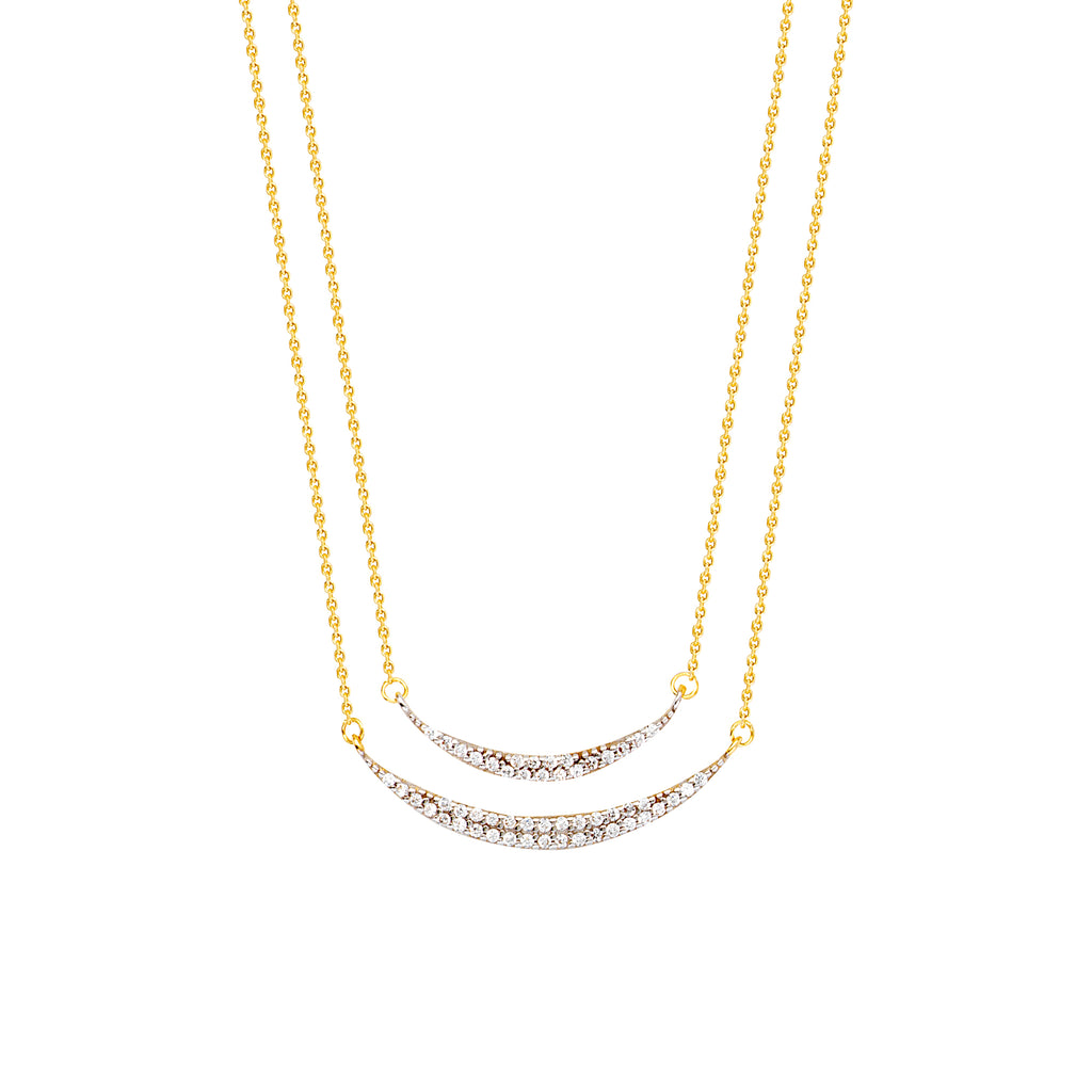 14k Yellow Gold Curved Bar Crescent Moon Necklace Sparkling CZ- Layered Duos