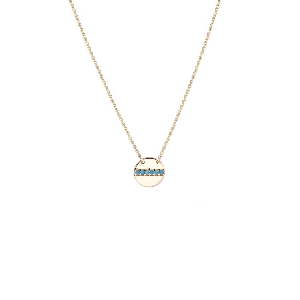 14k Yellow Gold Disk Necklace with Simulated Nano Turquoise Adjustable Length