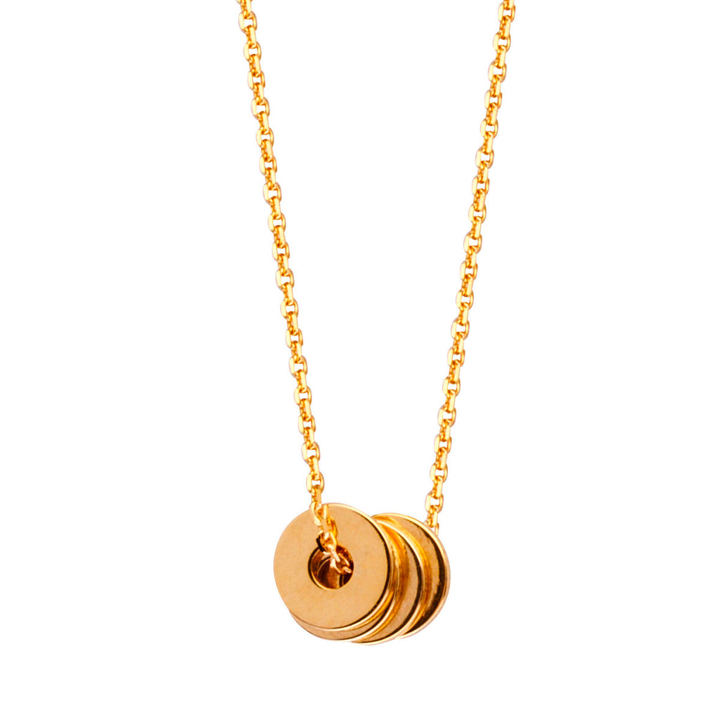 14k Yellow Gold Stacked Disk Necklace Adjustable Length