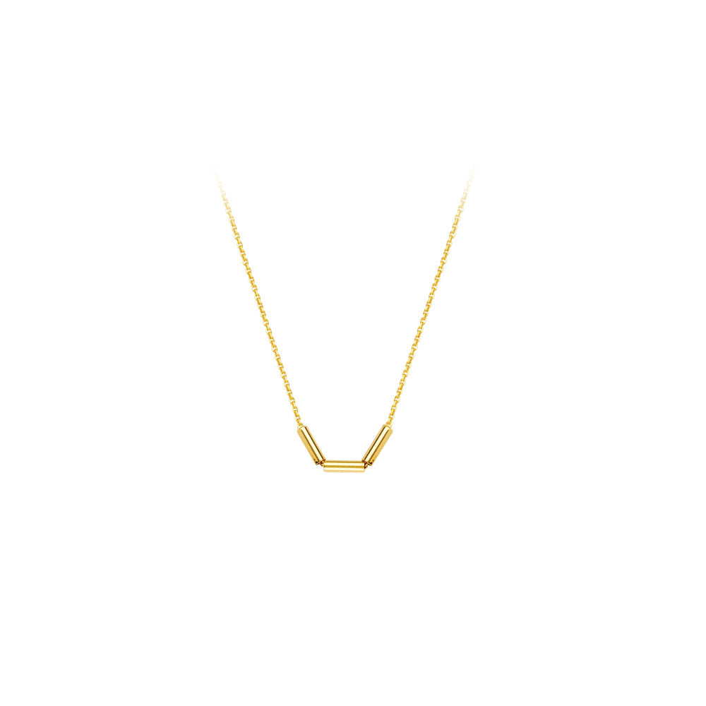 14k Yellow Gold Small Cylinder Tube Necklace Adjustable Length