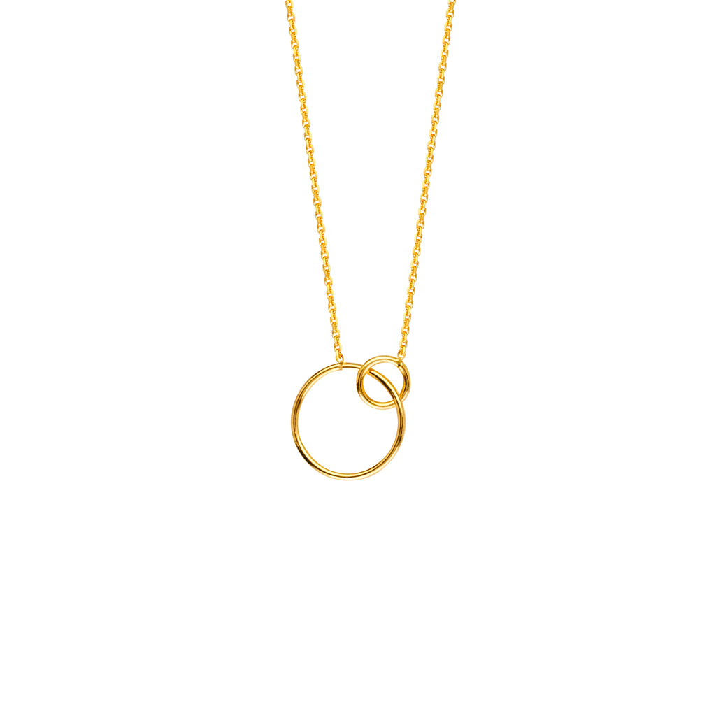 Hawley Street 14k Yellow Gold Open Interlocking Ring Pendant Necklace