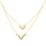 14k Yellow Gold Heart and V Chevron Necklace - Layered Duos