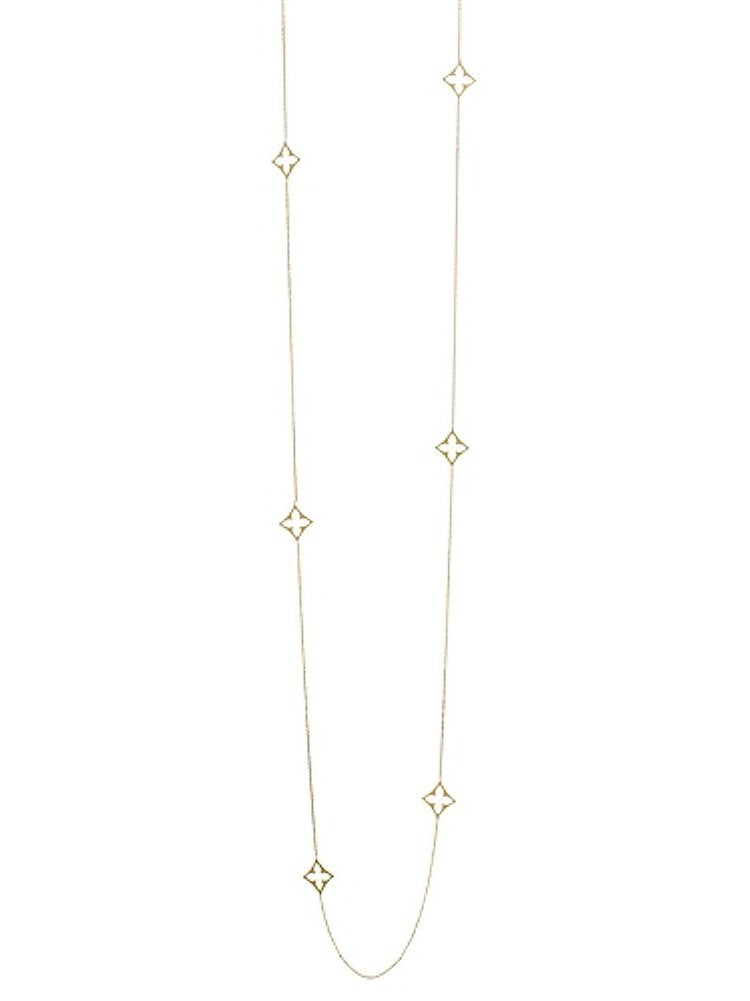 14k Yellow Gold 8-station Quatefoil Diamond-shape Necklace 36-inch Length