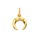 14k Yellow Gold Crescent Pendant Charm with Genuine Diamond Accent