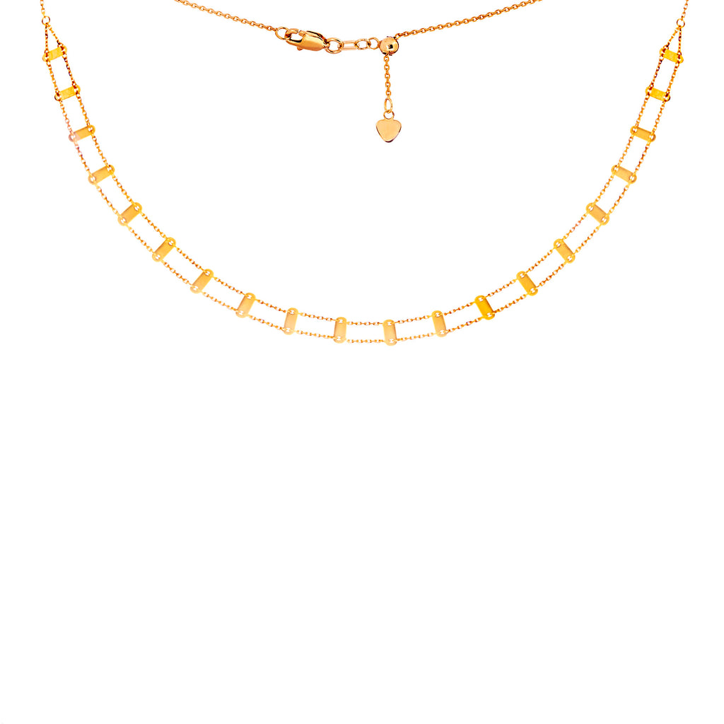 Choker Necklace Railroad Style Chain 14k Yellow Gold - Adjustable