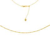 Choker Necklace 14k Gold with Satellite Saturn Bead Chain Adjustable Length