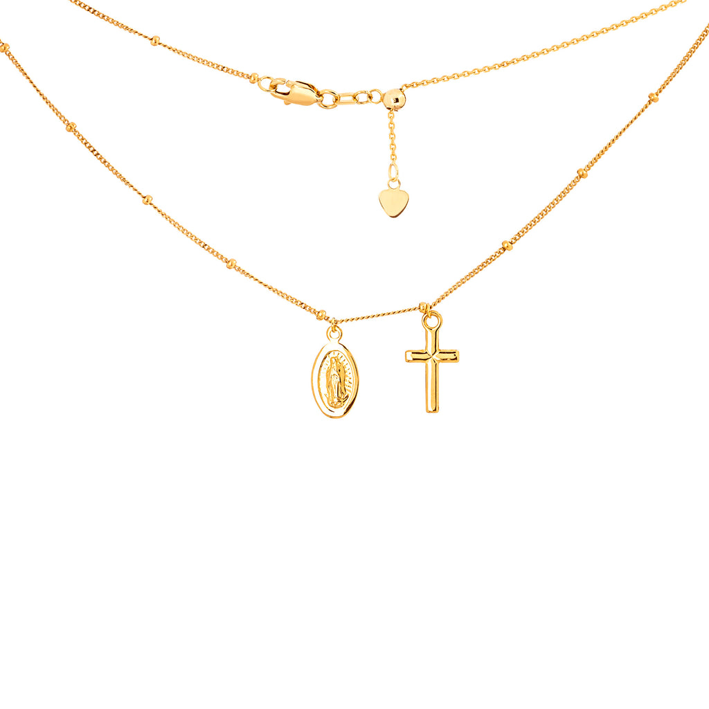 Choker Necklace Saturn Style Chain with Catholic Charms 14k Yellow Gold - Adjustable