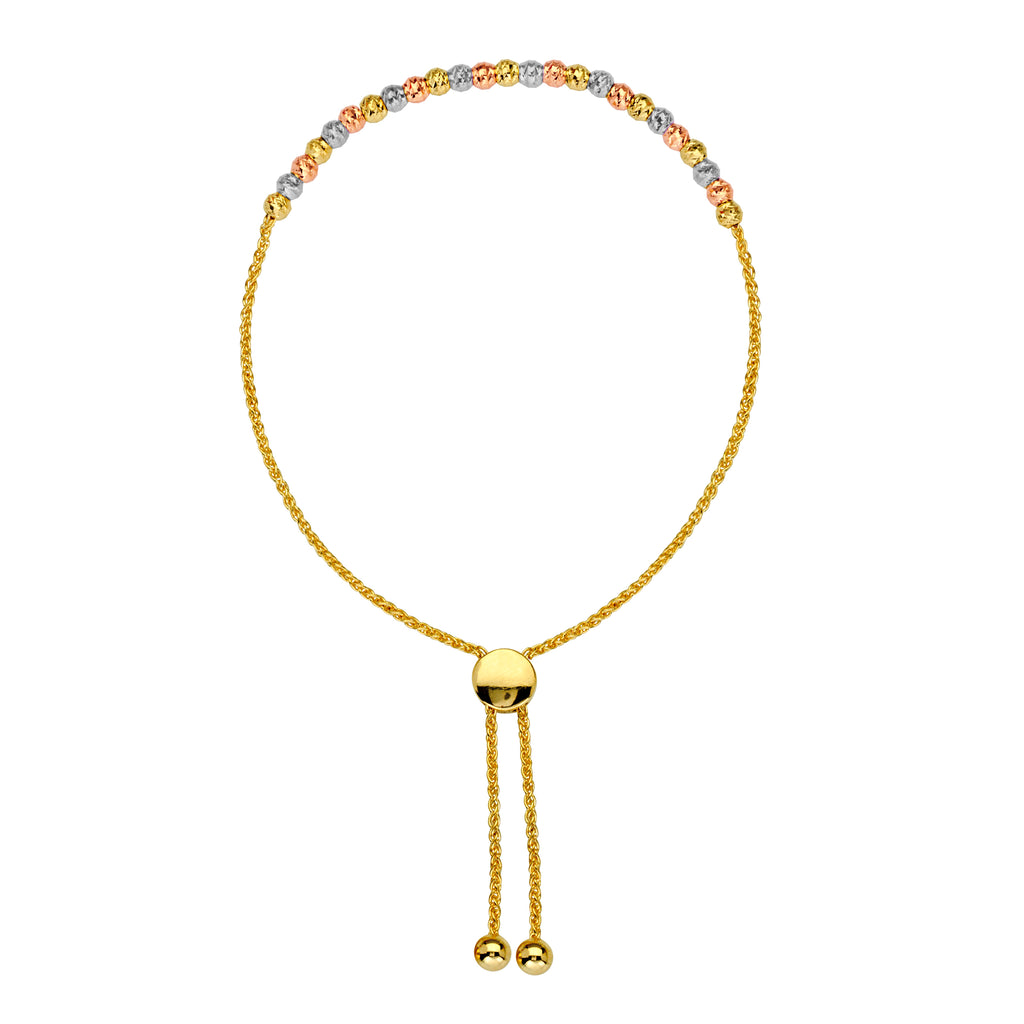 AzureBella Jewelry 14k Gold Bon Friendship Bolo Bracelet with Tri-Color Gold Beads Adjustable