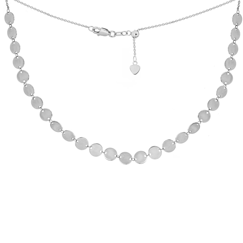Choker Necklace with Disks Chain 14k White Gold - Adjustable