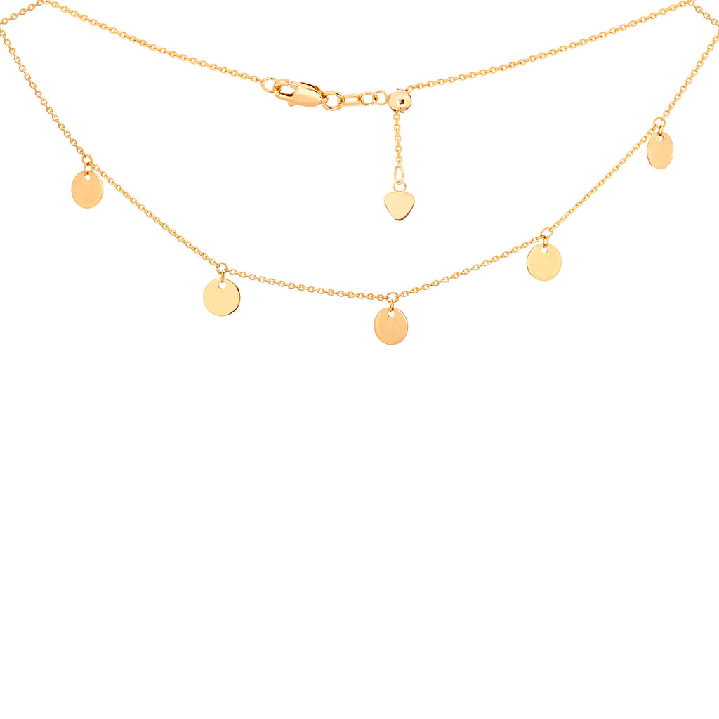 Choker Necklace with Dangle Disk Charms Chain 14k Yellow Gold - Adjustable