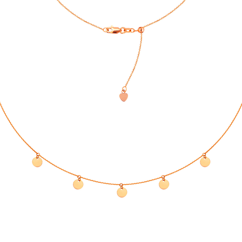 Choker Necklace with Dangle Disk Charms Chain 14k Rose Gold - Adjustable