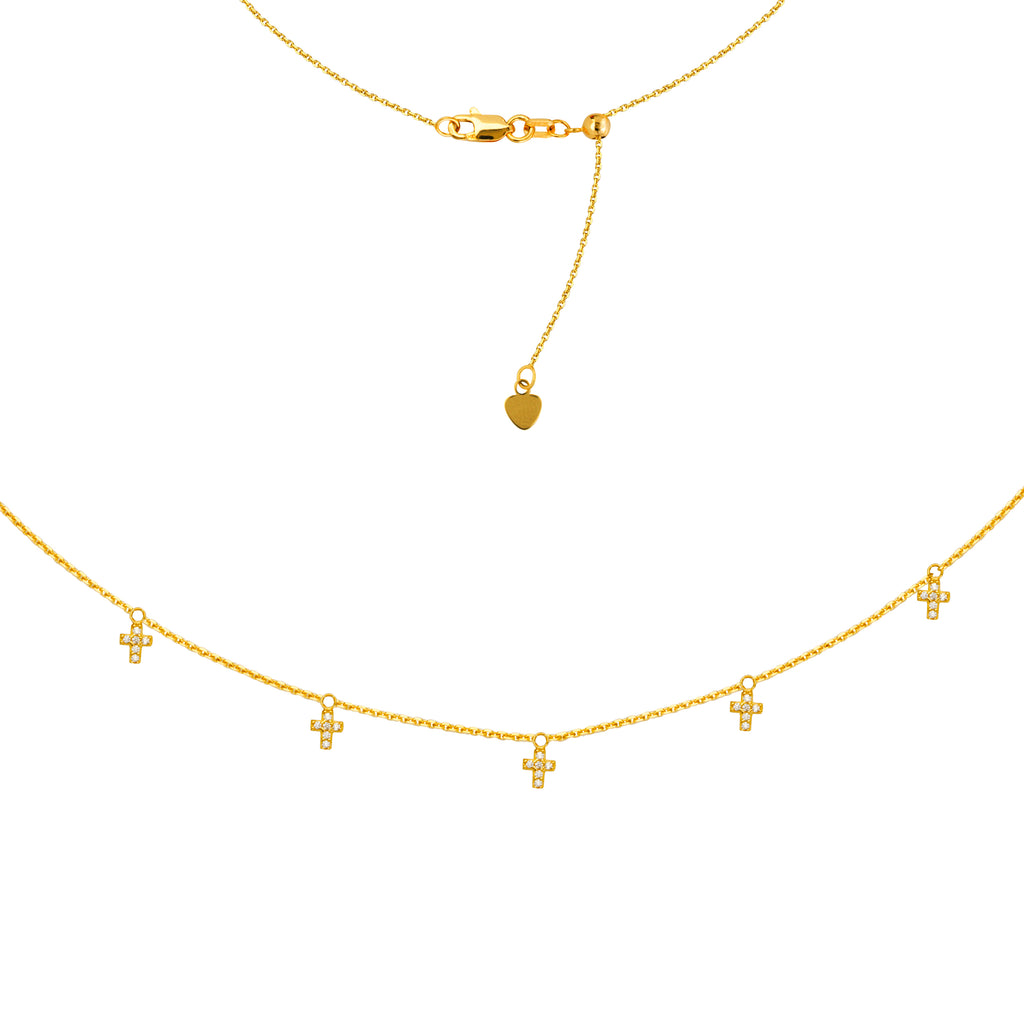 Choker Necklace 14k Yellow Gold with CZ Cross Drops Adjustable Length