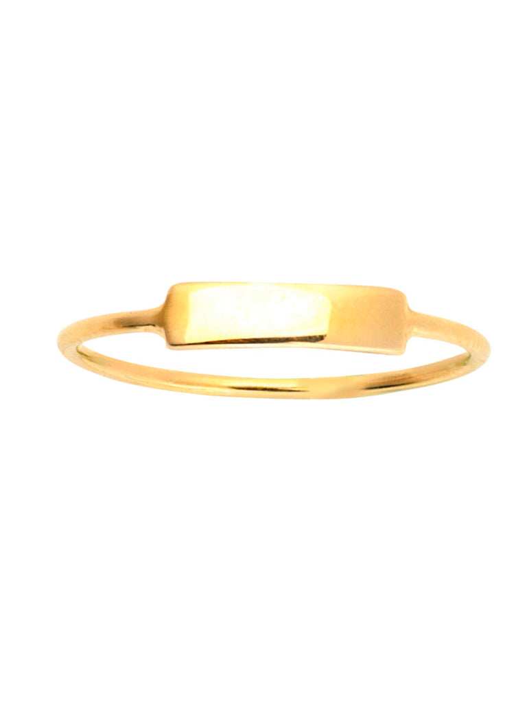 14k Yellow Gold ID Rectangle Plain Ring