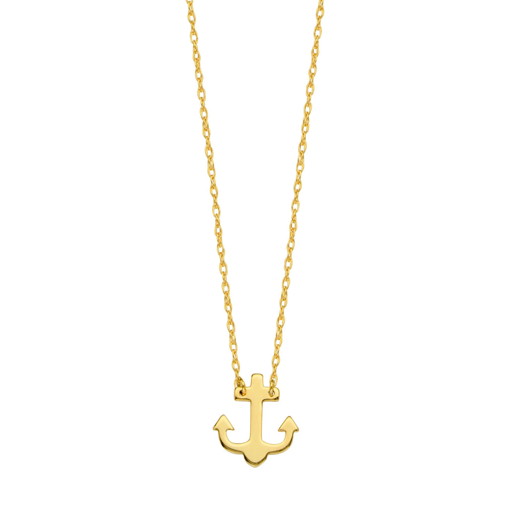 14k Yellow Gold Anchor Necklace Adjustable Length - So You
