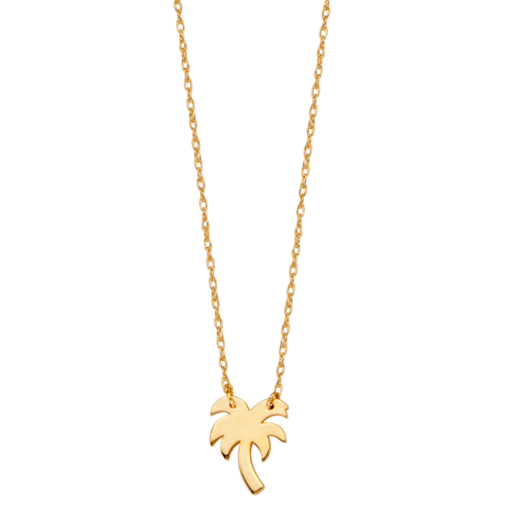 14k Yellow Gold Palm Tree Necklace Adjustable Length - So You