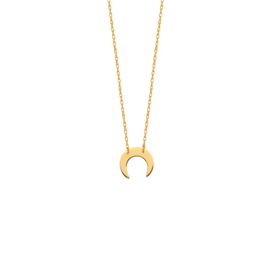 14k Yellow Gold Cresent Moon Necklace Adjustable Length - So You