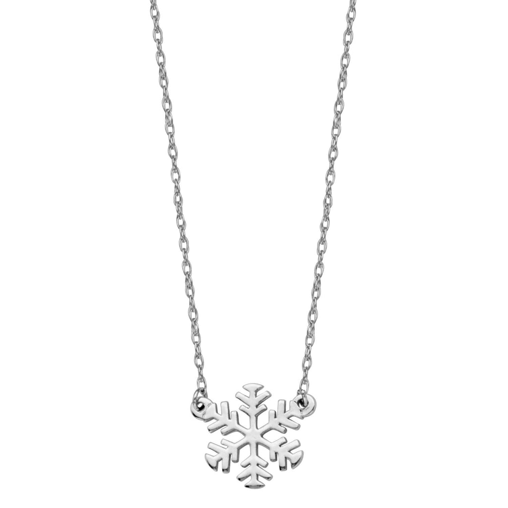 14k White Gold Snowflake Necklace Adjustable Length - So You