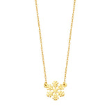 14k Yellow Gold Snowflake Necklace Adjustable Length - So You
