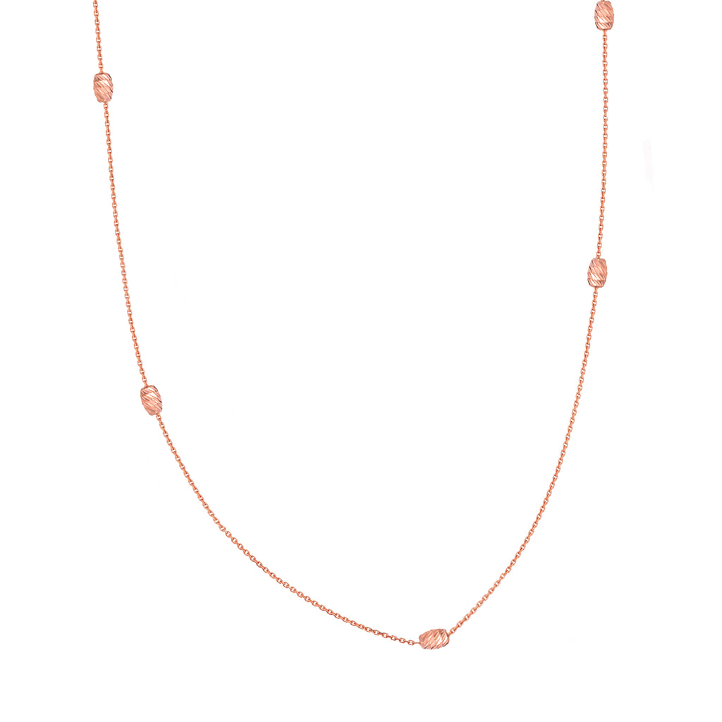 14k Rose Gold Station Style Moon Cut Melon Bead Necklace Adjustable Length