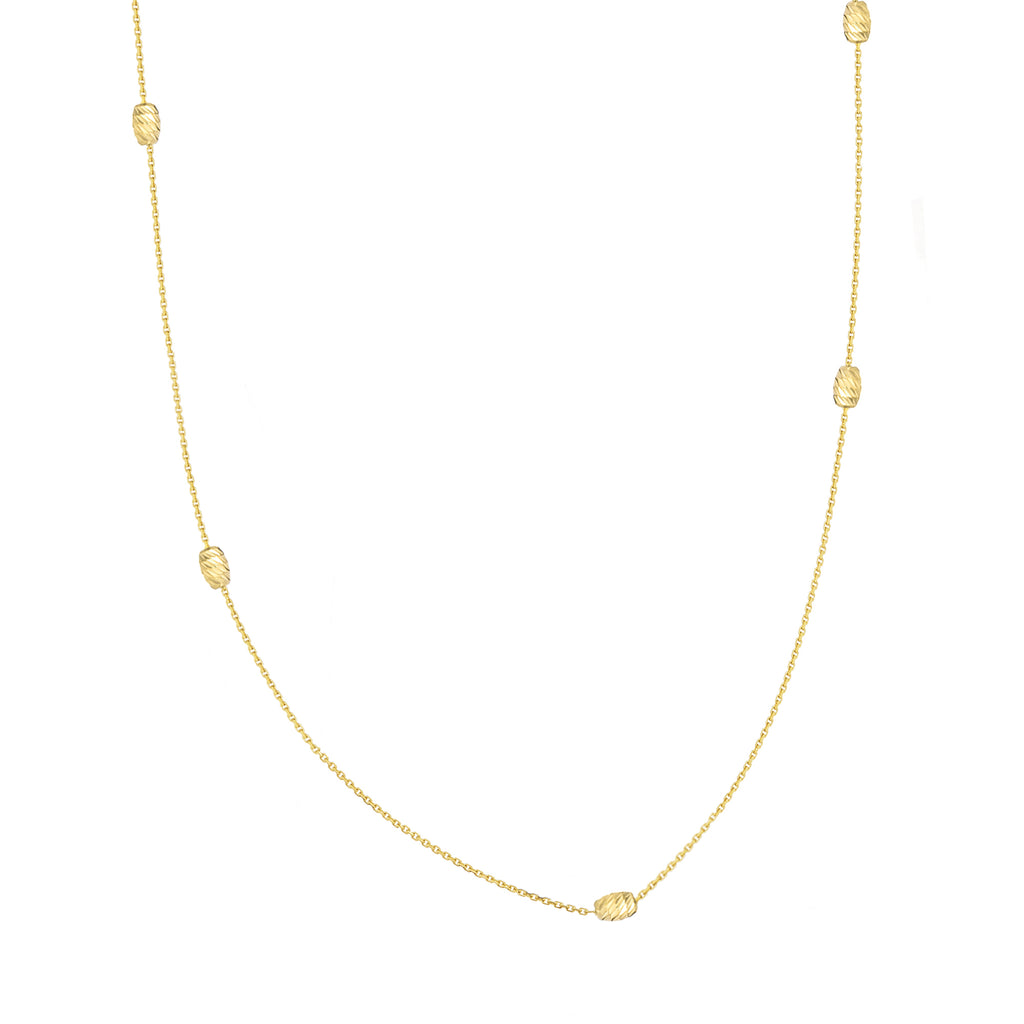 14k Yellow Gold Station Style Moon Cut Melon Bead Necklace Adjustable Length