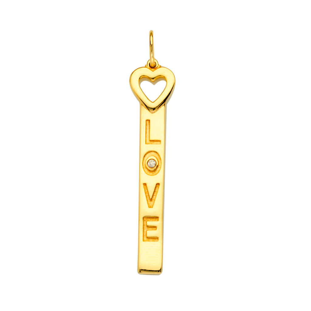 14k Yellow Gold Bar Love Pendant Charm with Genuine Diamond Accent and Heart