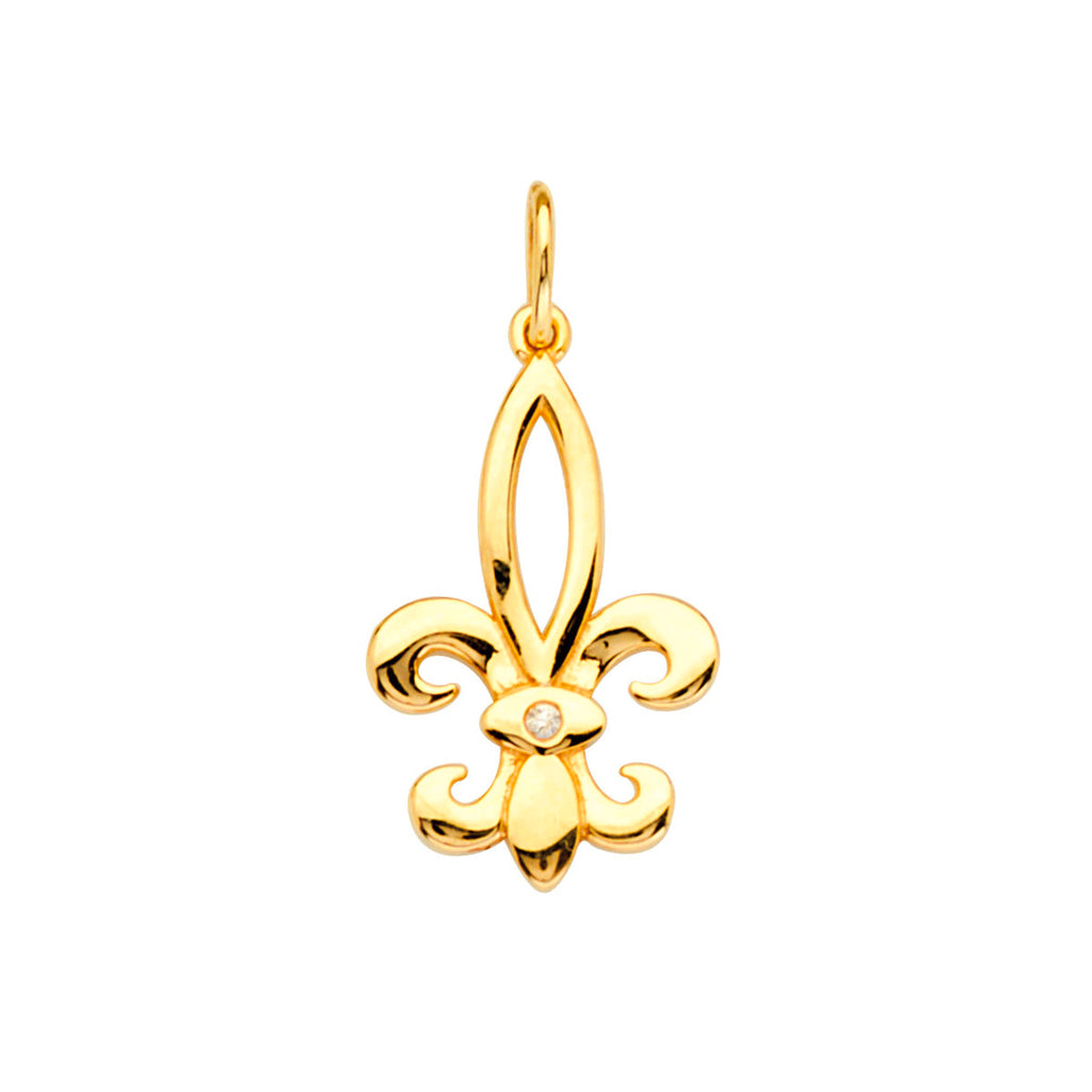 14k Yellow Gold Fleur-de-lis Pendant Charm with Genuine Diamond Accent