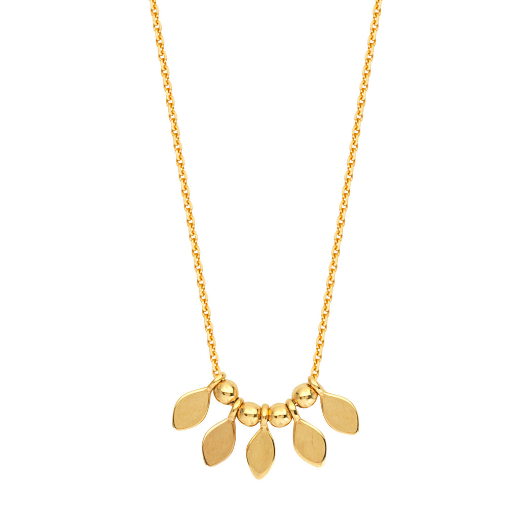 14k Yellow Gold Mini Leaf Disk and Bead Necklace Adjustable Length