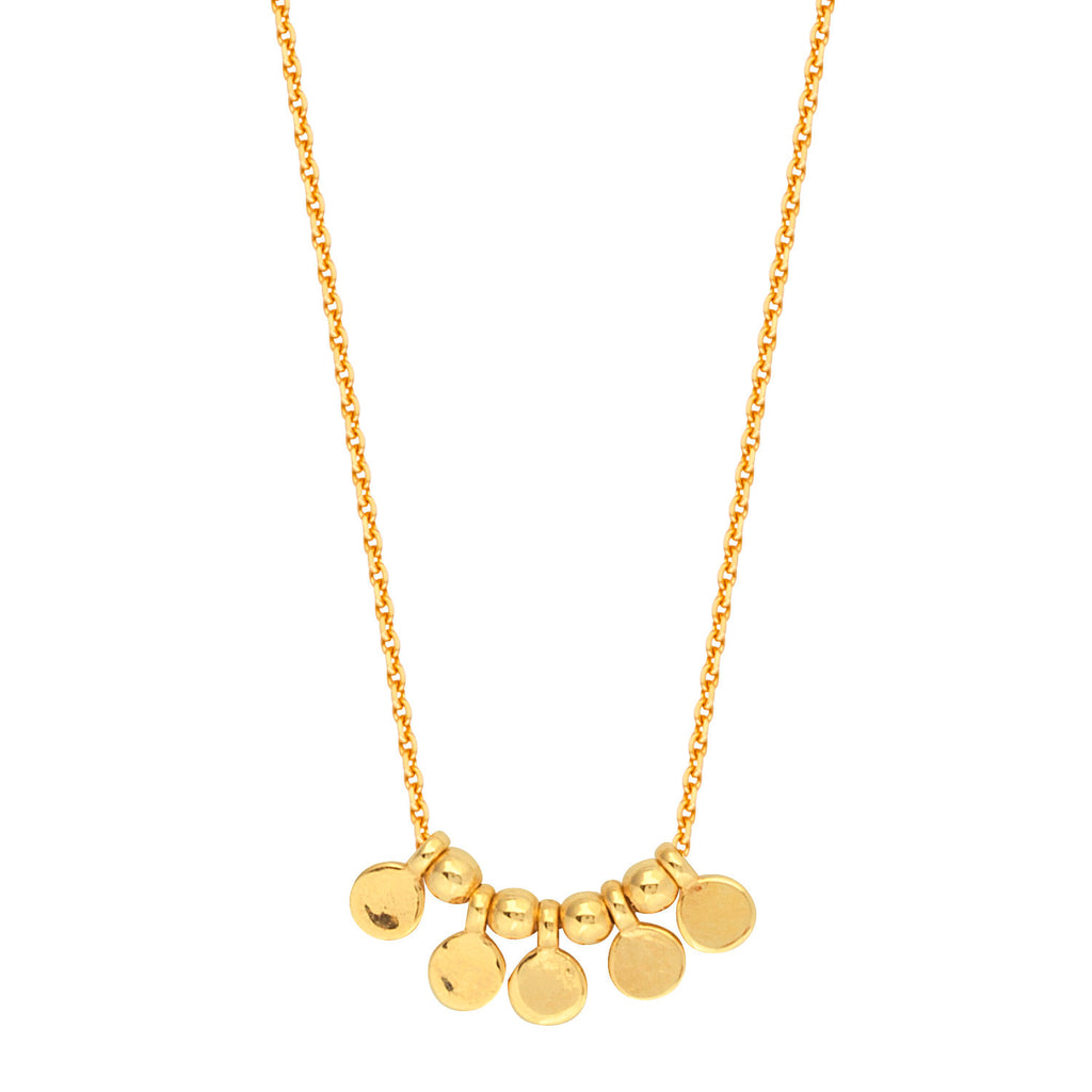 14k Yellow Gold Mini Round Disk and Bead Necklace Adjustable Length