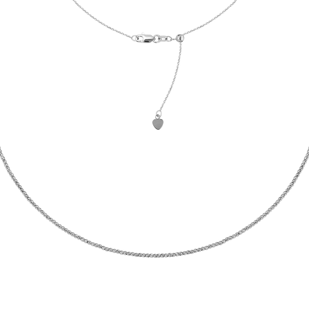 14k White Gold Choker Necklace Diamond-cut Bead Chain Adjustable to 16 inches