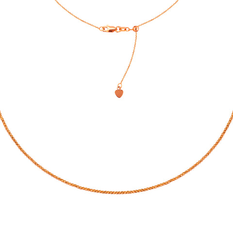 14k Rose Gold Choker Necklace Diamond-cut Bead Chain Adjustable to 16 inches