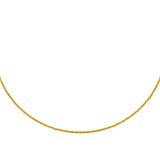 14k Yellow Gold Choker Necklace Diamond-cut Bead Chain Adjustable to 16 inches