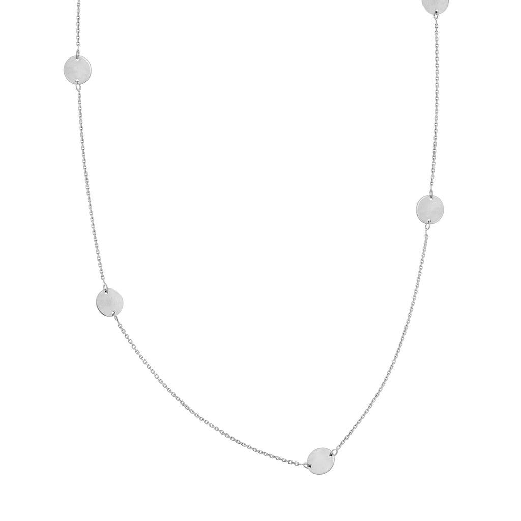 14k White Gold Station Disk Necklace Adjustable Length