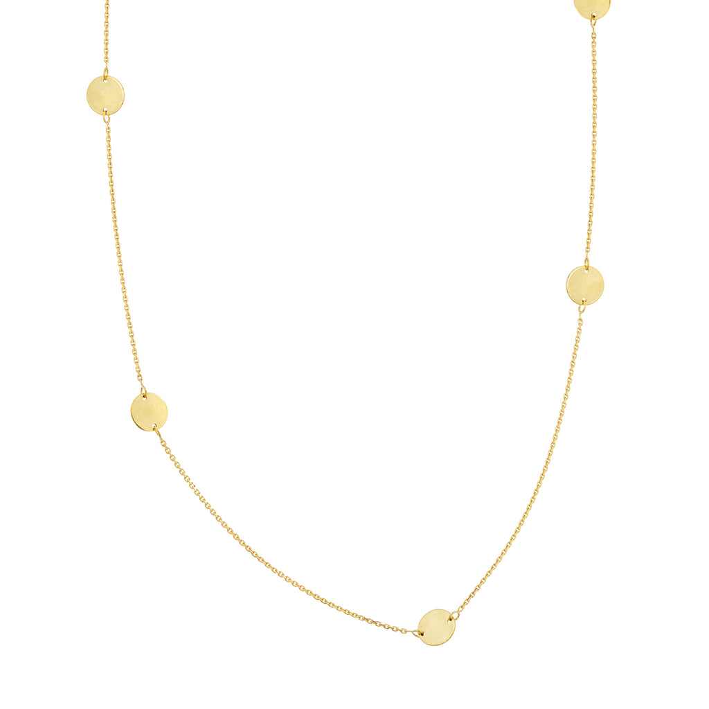 14k Yellow Gold Station Disk Necklace Adjustable Length