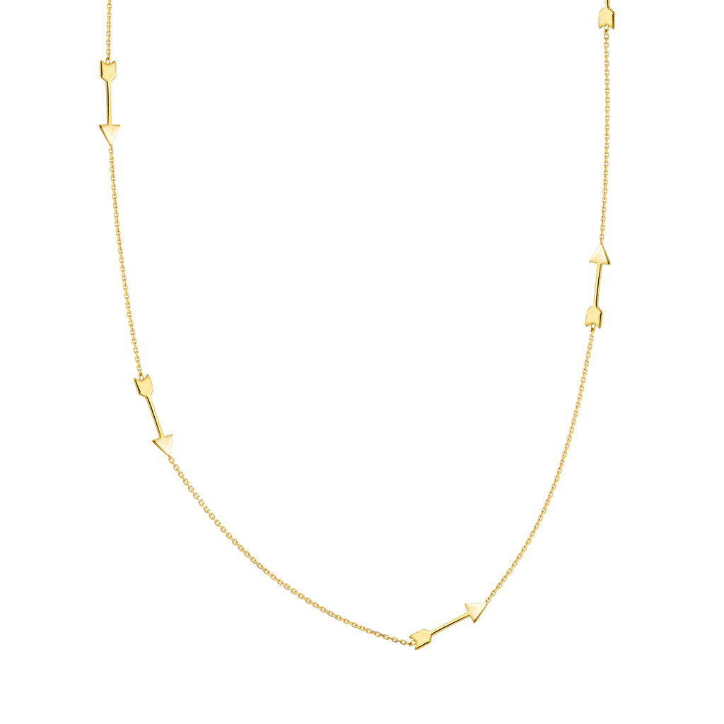14k Yellow Gold Station Arrow Necklace Adjustable Length