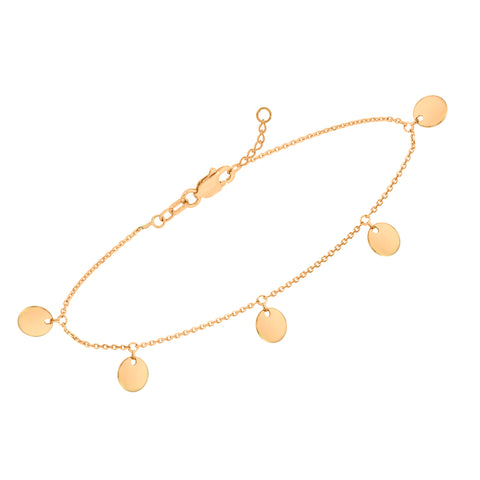 14k Yellow Gold Anklet Ankle Bracelet with Small Disk Drops Adjustable