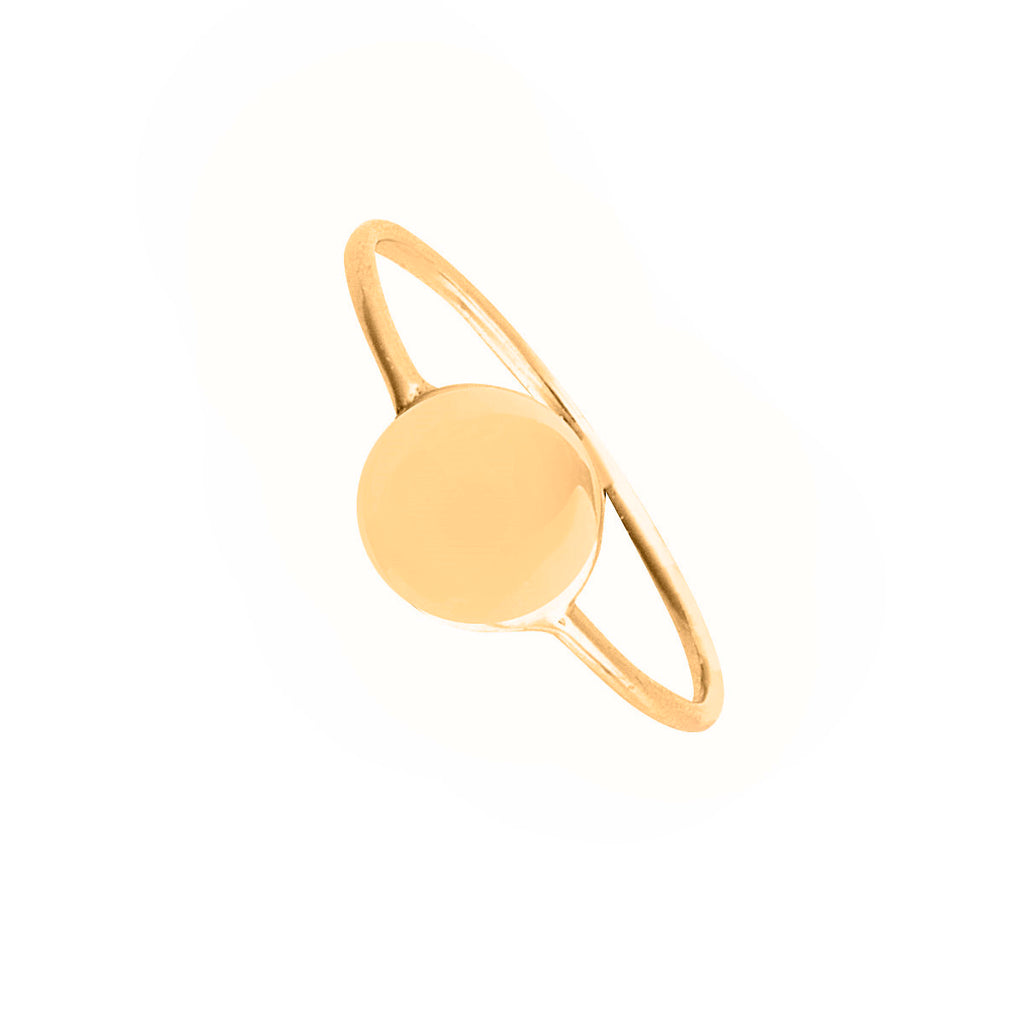 14k Yellow Gold Geometric Disk Wire Circle Ring