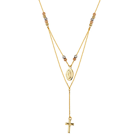 14k Gold Y-style Bib Necklace with Beads, Virgin Mary Medallion and Cross Drop