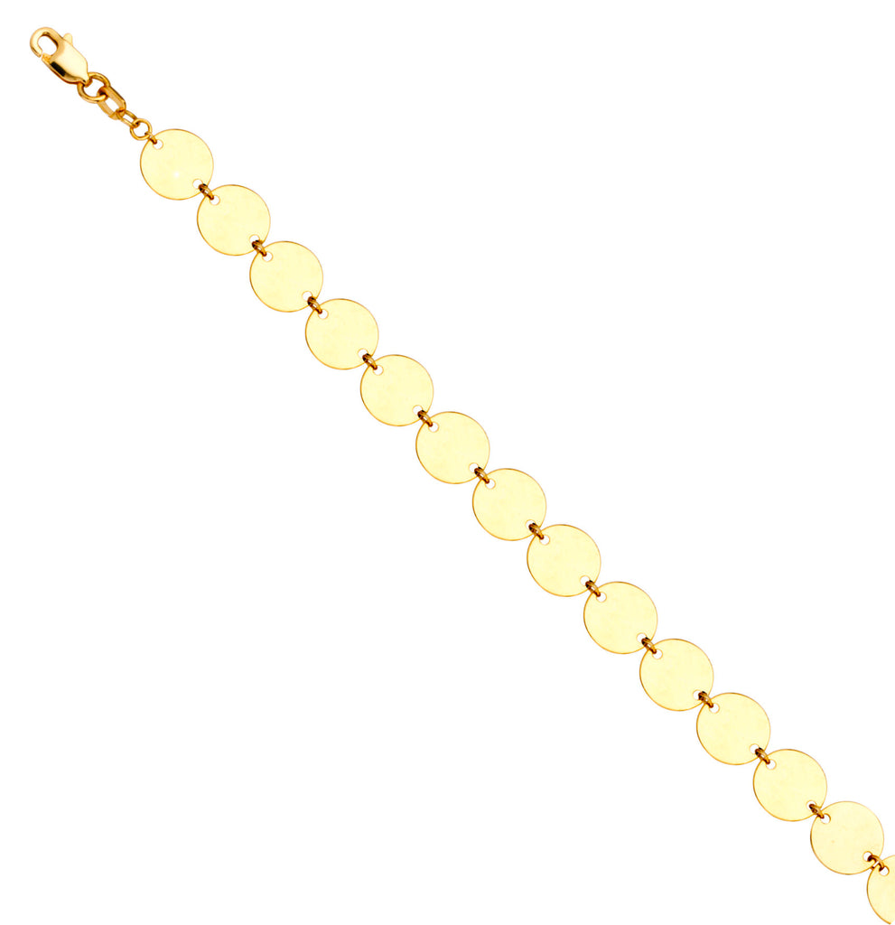 14k Yellow Gold Bracelet with 6mm Flat Round Disks