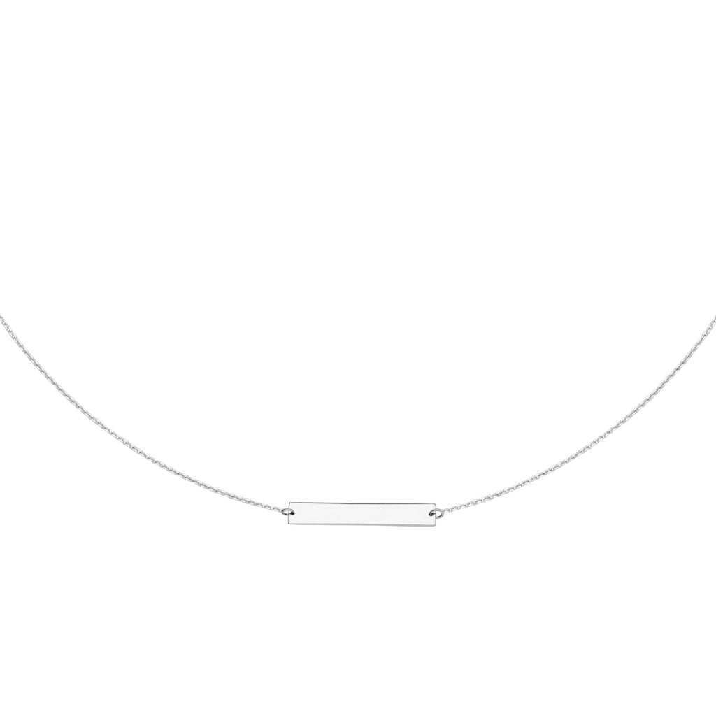 14k White Gold Choker Necklace with Bar Adjustable to 16 inches