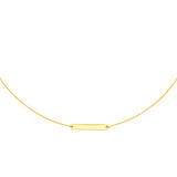 14k Yellow Gold Choker Necklace with Bar Adjustable to 16 inches