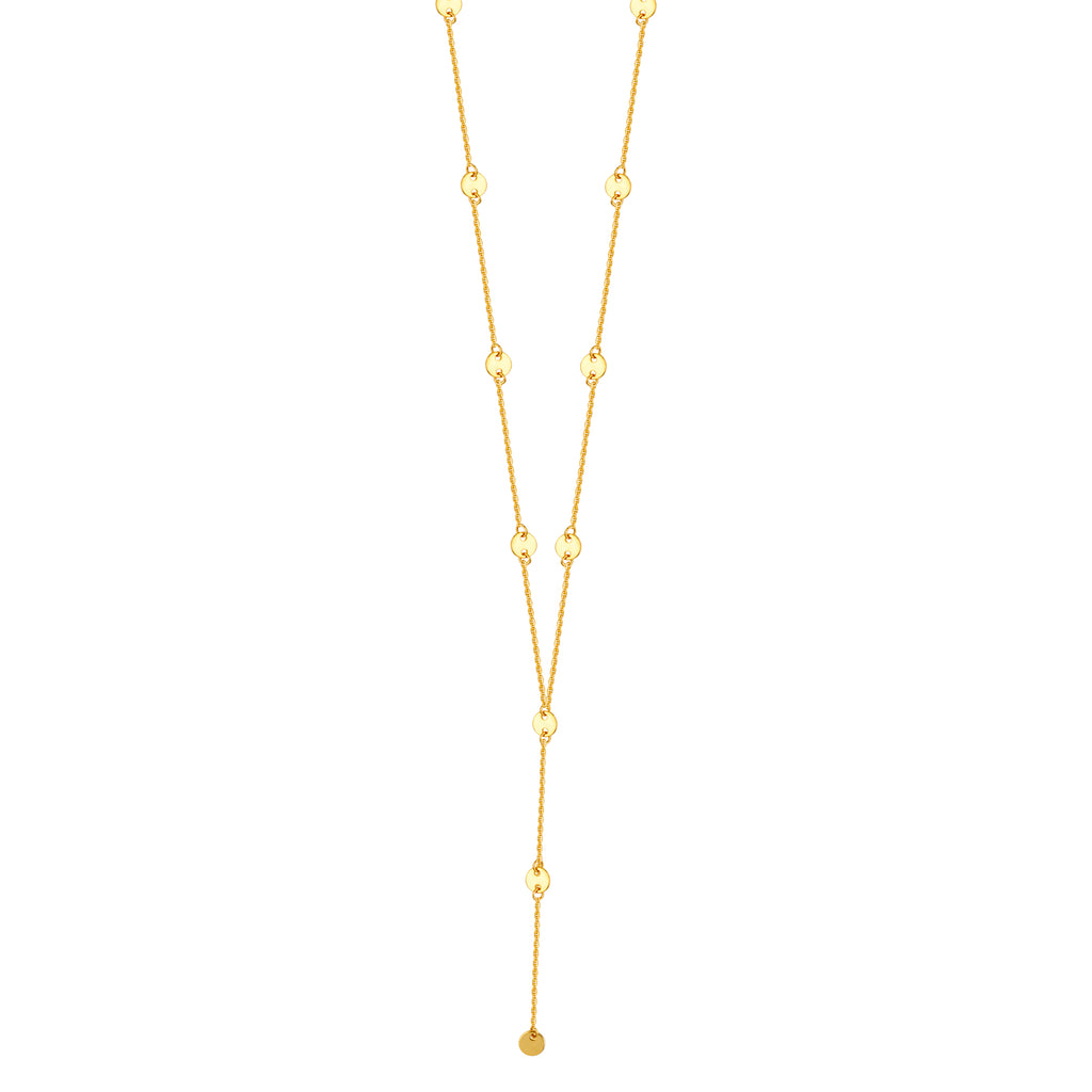 14k Yellow Gold Y-style Lariat Necklace with 4mm Disk Stations Adjustable Length