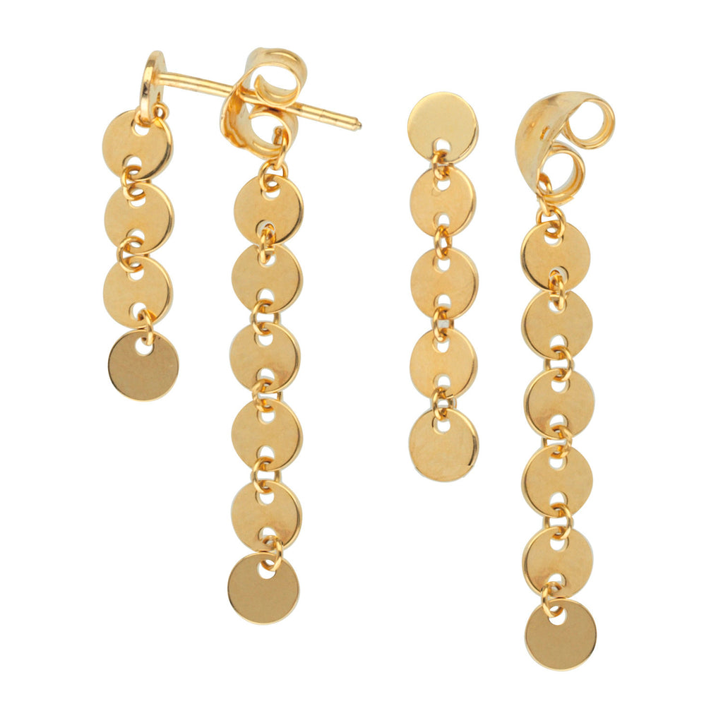 Disk Drop Front Back Earrings 14k Yellow Gold